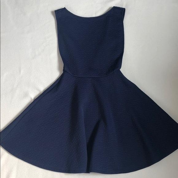 9b1fe1e83f Hot Miami Styles Dresses   Skirts - Navy-Blue Textured Open Sides Skater  Dress